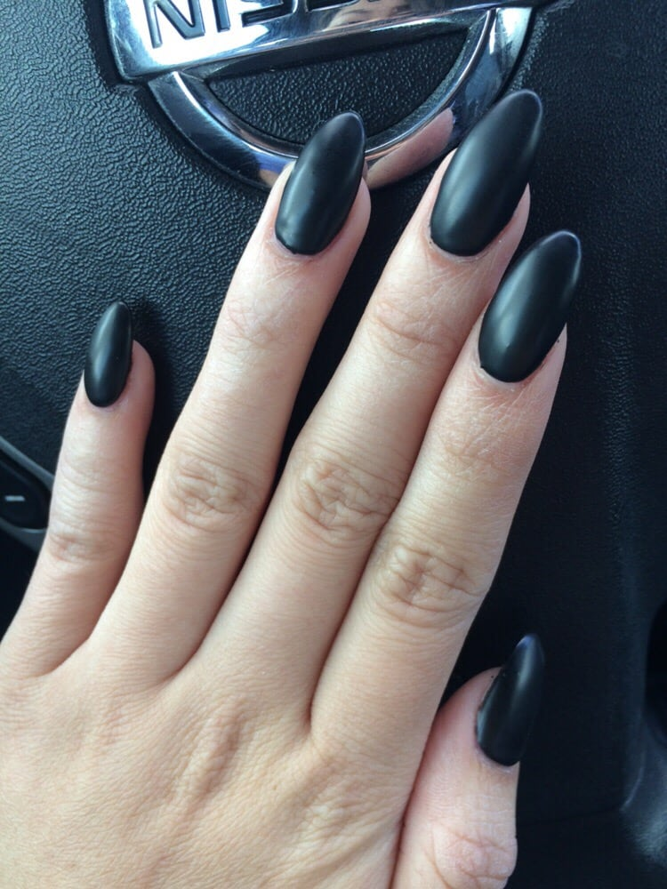 Matte Black Almond Nails - Yelp