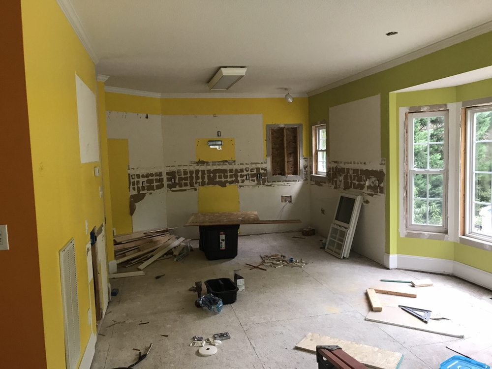 Complete kitchen remodel. Removed flooring, cabinets, appliances ...