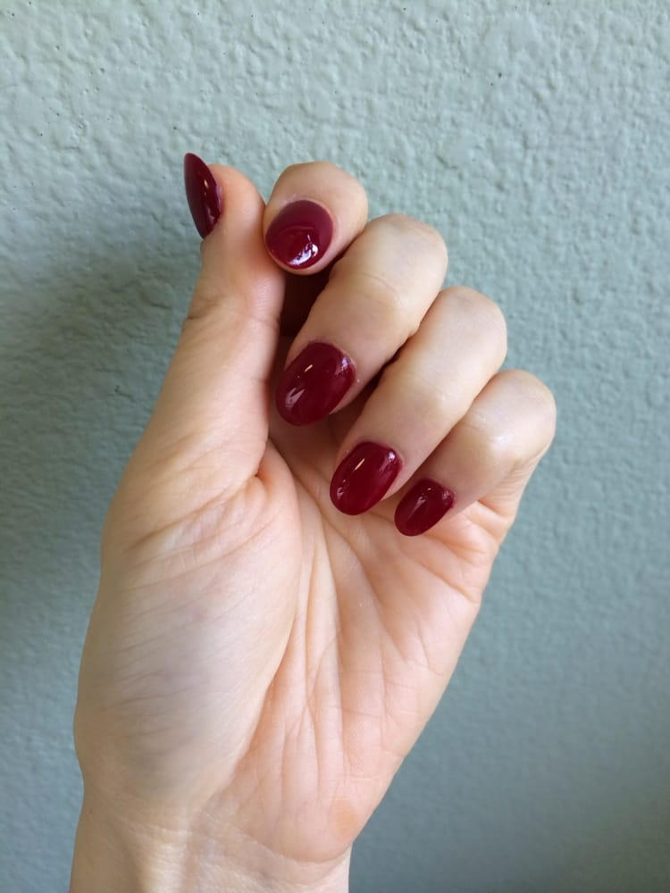 Gel #6 (deep wine) & very thin, natural-looking acrylics with oval ...