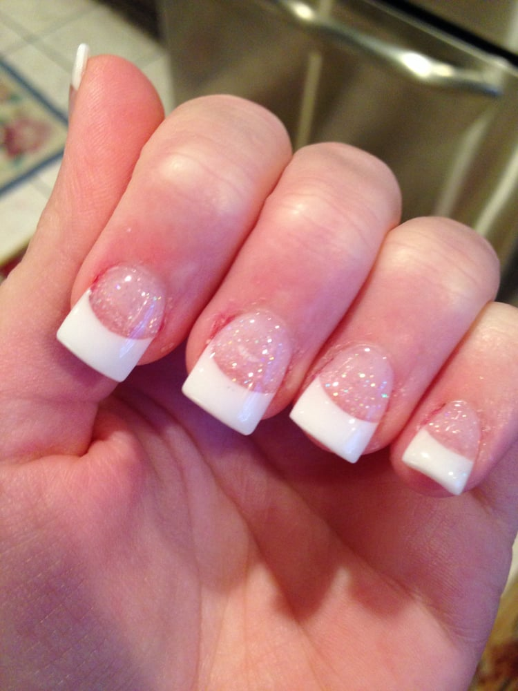 Full set with glitter powder and white tips! Love them - Yelp