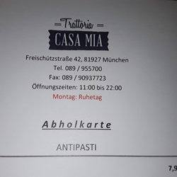 casa mia italian freisch tzstr 42 bogenhausen munich bayern germany restaurant. Black Bedroom Furniture Sets. Home Design Ideas