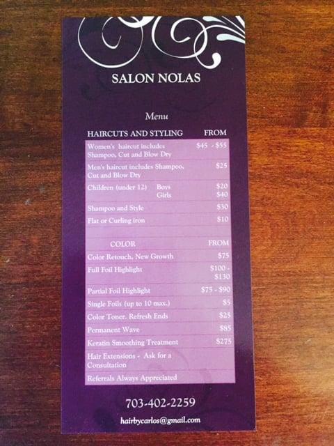 Salon Nolas: 823 B South King St, Leesburg, VA
