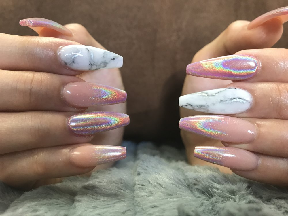 Coffin nails with ombré unicorn chrome and marble - Yelp