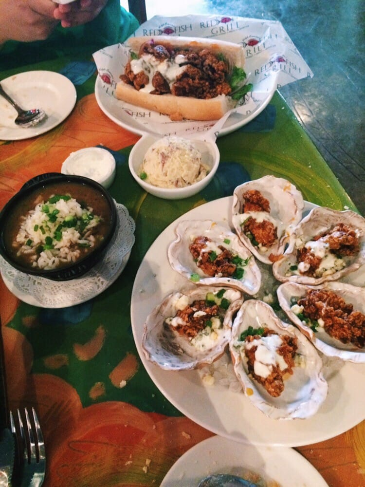 Bbq oyster po boy shrimp and alligator gumbo bbq oysters for Red fish grill new orleans
