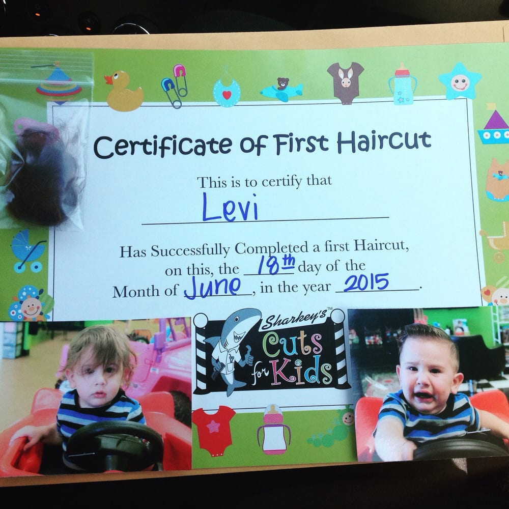 They gave him a certificate for babys first hair cut including a photo of sharkeys cuts for kids chino hills ca united states they 1betcityfo Gallery