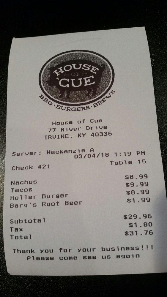 House of 'Cue: 77 River Dr, Irvine, KY