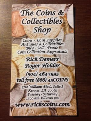 The coins collectibles shop antiques 3712 williams blvd photo of the coins collectibles shop kenner la united states business business card reheart Choice Image