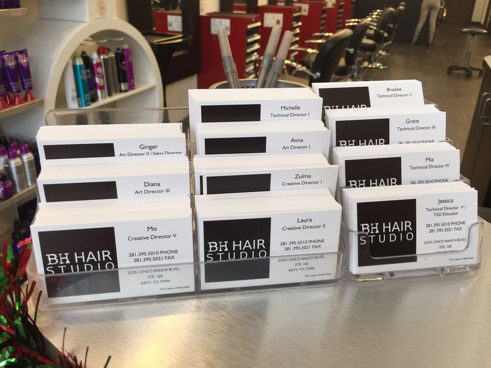 Business cards showing respective tier ranking per stylist yelp photo of bh hair studio katy tx united states business cards showing colourmoves