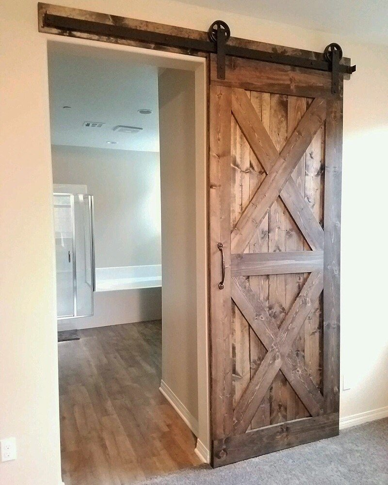 Double X Barn Door with Hardware for a master bedroom ...