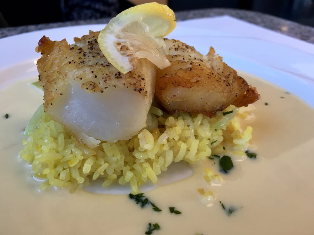 Avgolemeno Sea Bass: sea bass with saffron rice and lemon ...