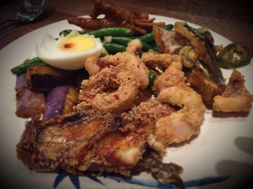 So good salmon spicy fish head chicken feet eggplant for Good fried fish near me