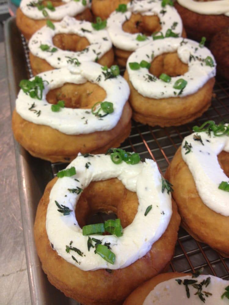 scallion donut w goat cheese donut frosting yelp