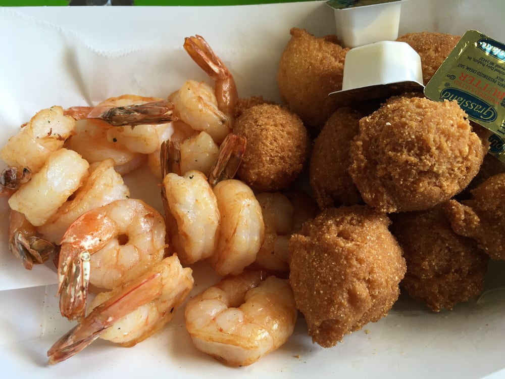 Grilled Shrimp With Hush Puppies Made Of Cornmeal Yelp