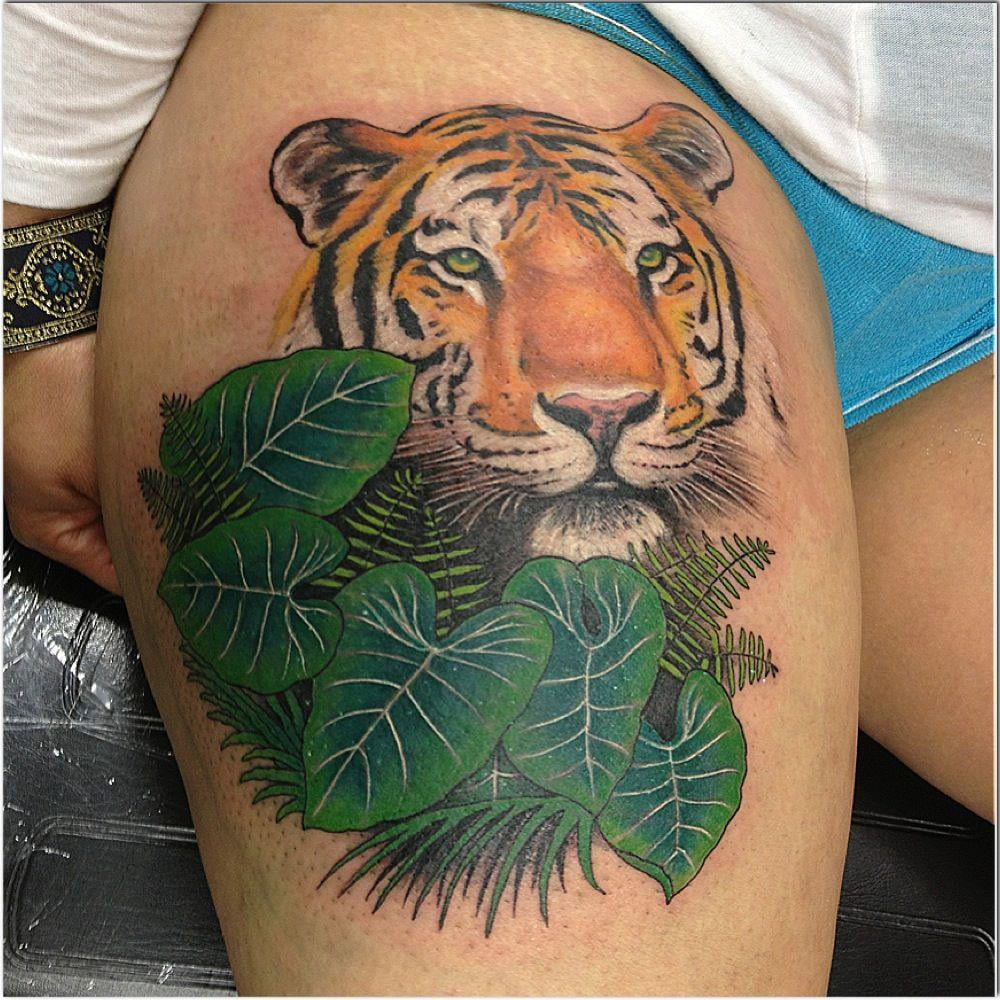 Tiger cover up by tommy yelp for Fresh white ink tattoo