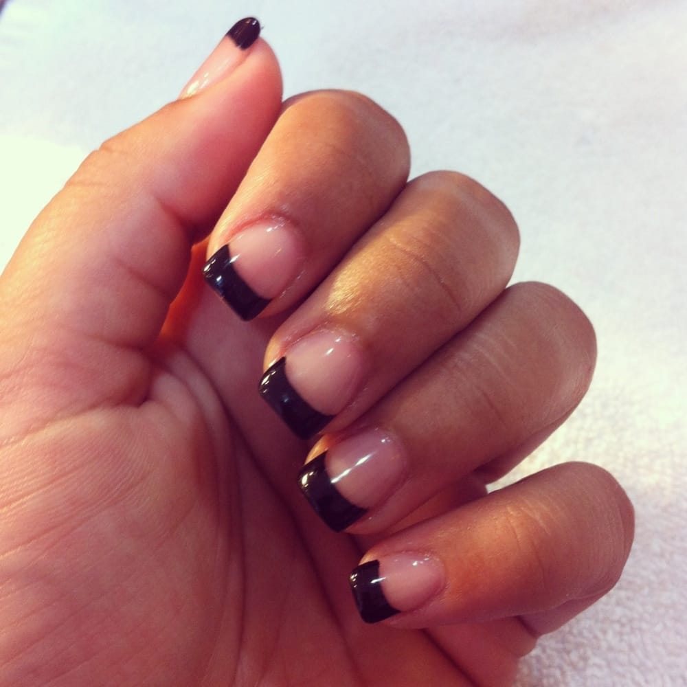 Acryllic with painted black tips and gel coating done by Hanh. - Yelp