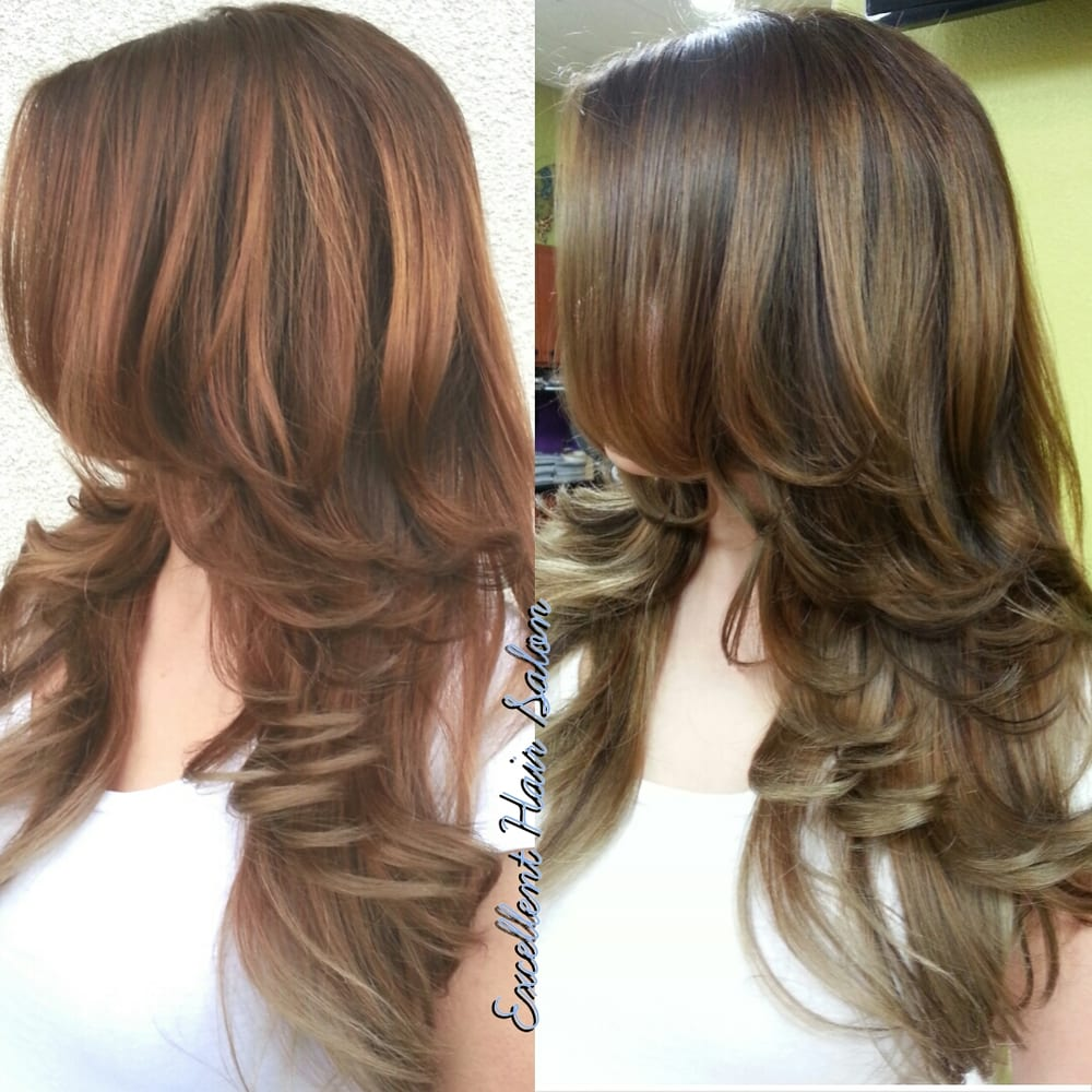 Ombre Balayage Highlights Color Cut And Style By Kim In