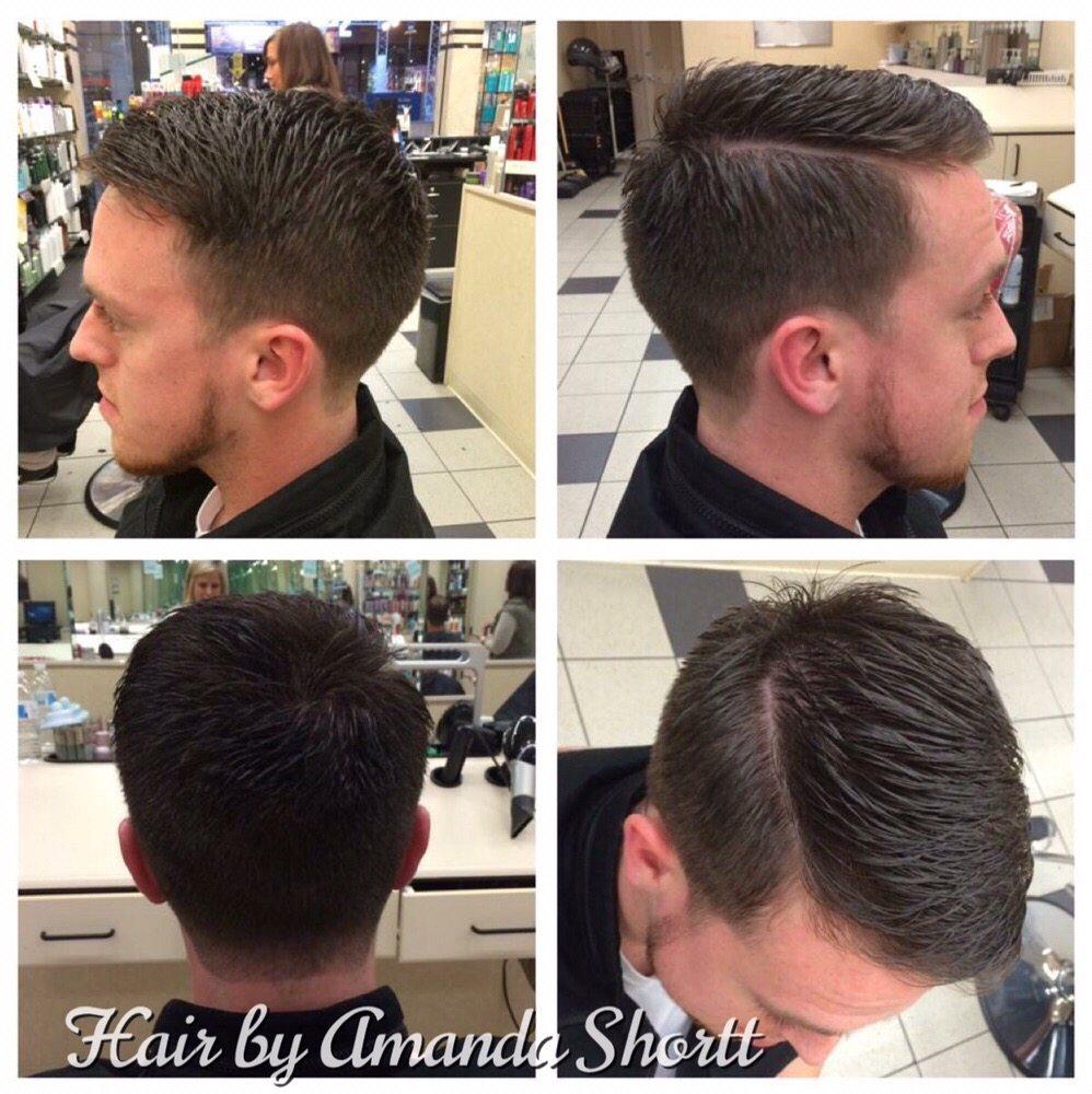 Mens Hard Part Haircut With Slight Fade Yelp