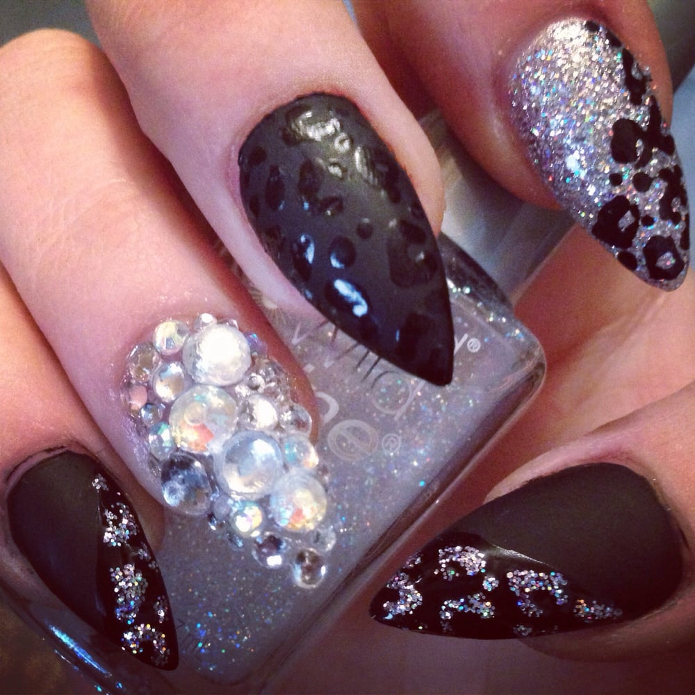 Stiletto nails with bling. - Yelp