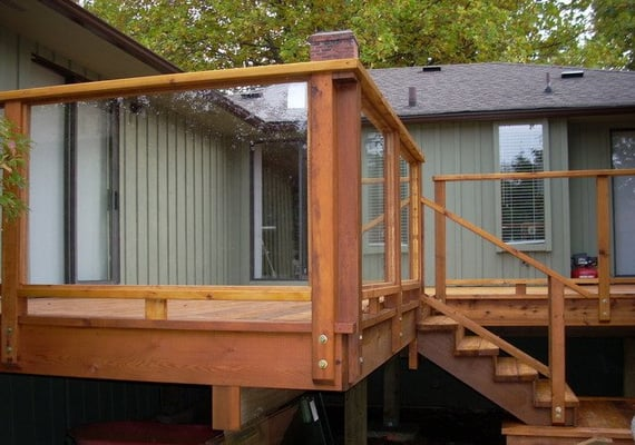 Cedar Deck With Safety Glass Railing Yelp