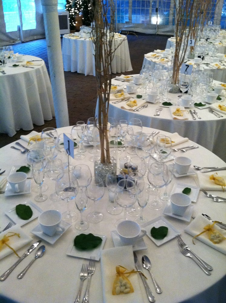 Table setting in tent for wedding centerpieces provided for Table 52 chicago reviews