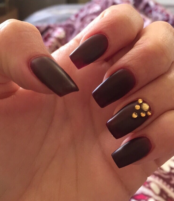 Nails by Jenny! Matte maroon with gold gems. Coffin style (not too ...