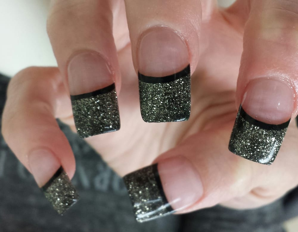 Glitter acrylic on tips, light pink acrylic on nail bed, black ...
