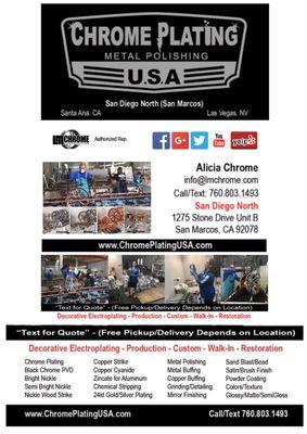 Chrome Plating USA Metal Polishing 1275 Stone Dr Unit B San