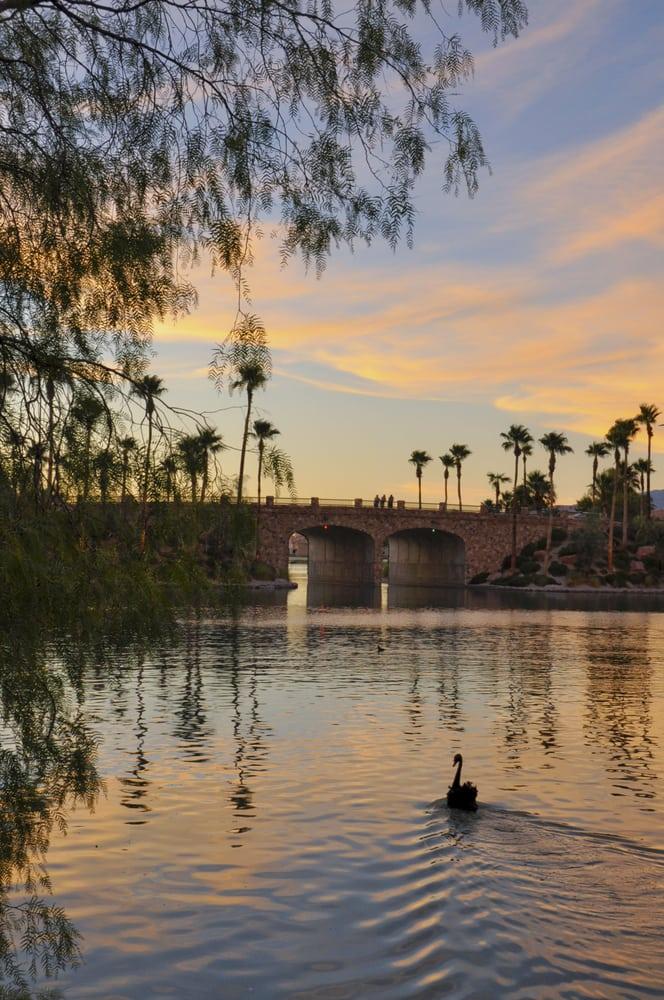 Bridge at sunset in grand garden yelp for Lakeside weddings las vegas