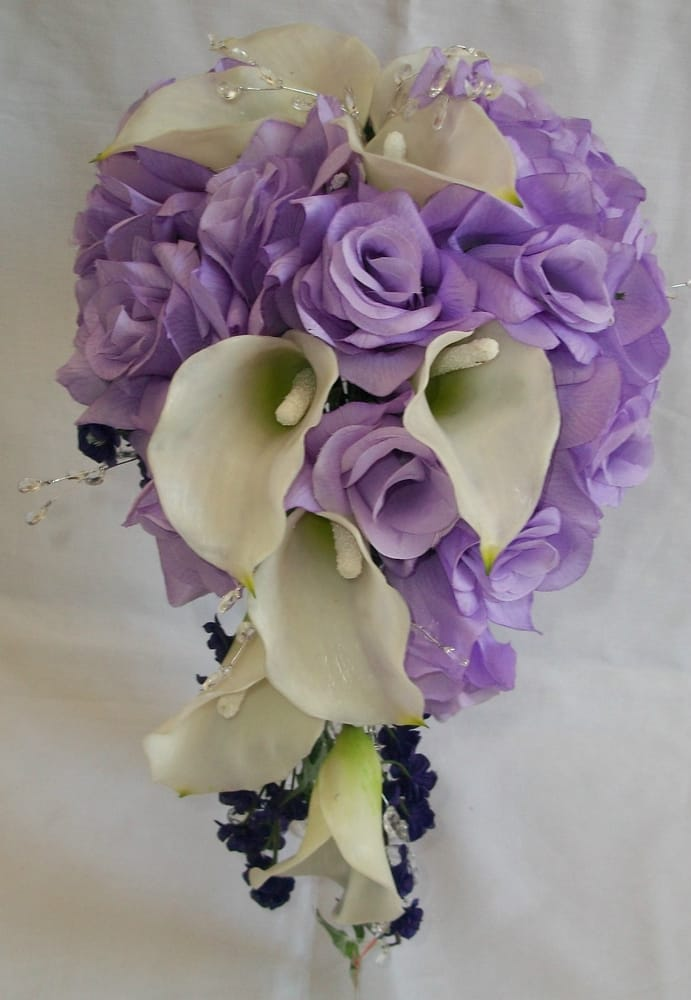 Lavender Roes Amp Calla Lily Cascading Bouquet Yelp