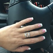 Pink And White Full Set Solar Nails Services Hollywood Nails
