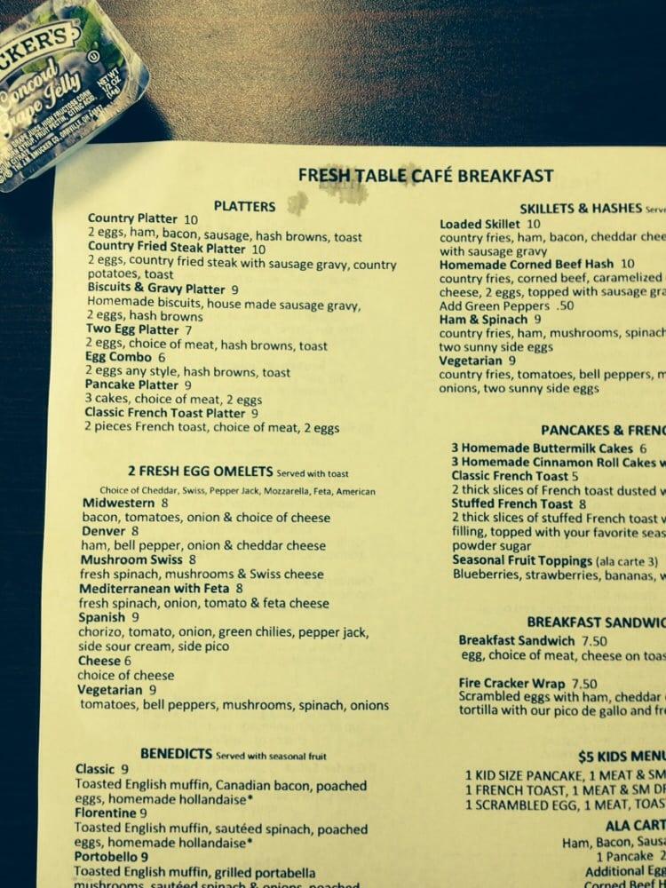 Breakfast menu yelp for Table 9 menu
