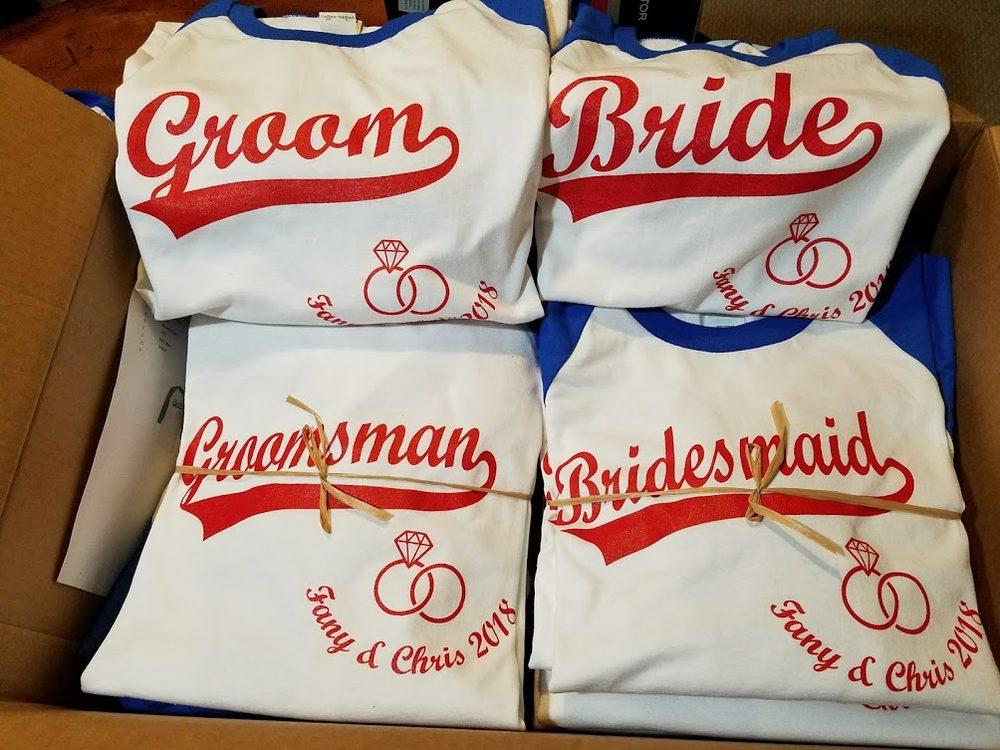b0aab58659f Bridesmaid   Groomsmen shirts with Bride and Groom - Yelp