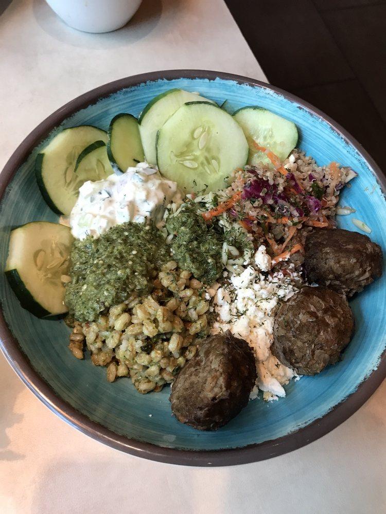 Mediterranean Salad Trio Bowl With Lamb Meatballs Yelp