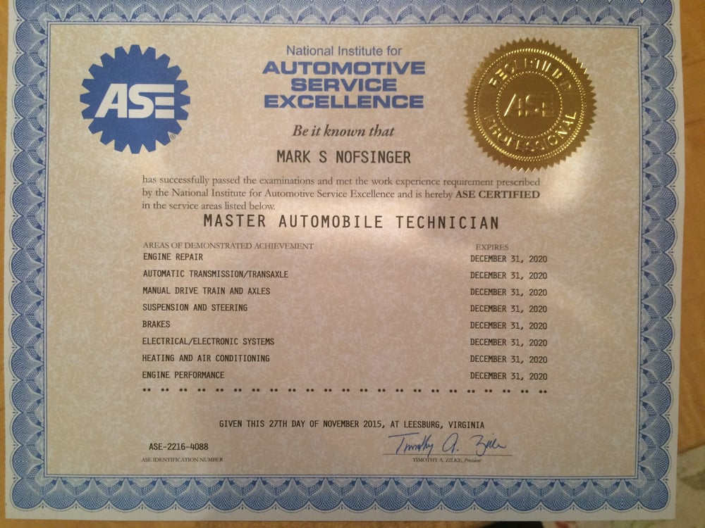 We employ ASE certified technicians  - Yelp