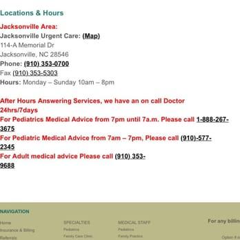 Jacksonville Urgent Care Urgent Care 114 A Memorial Dr