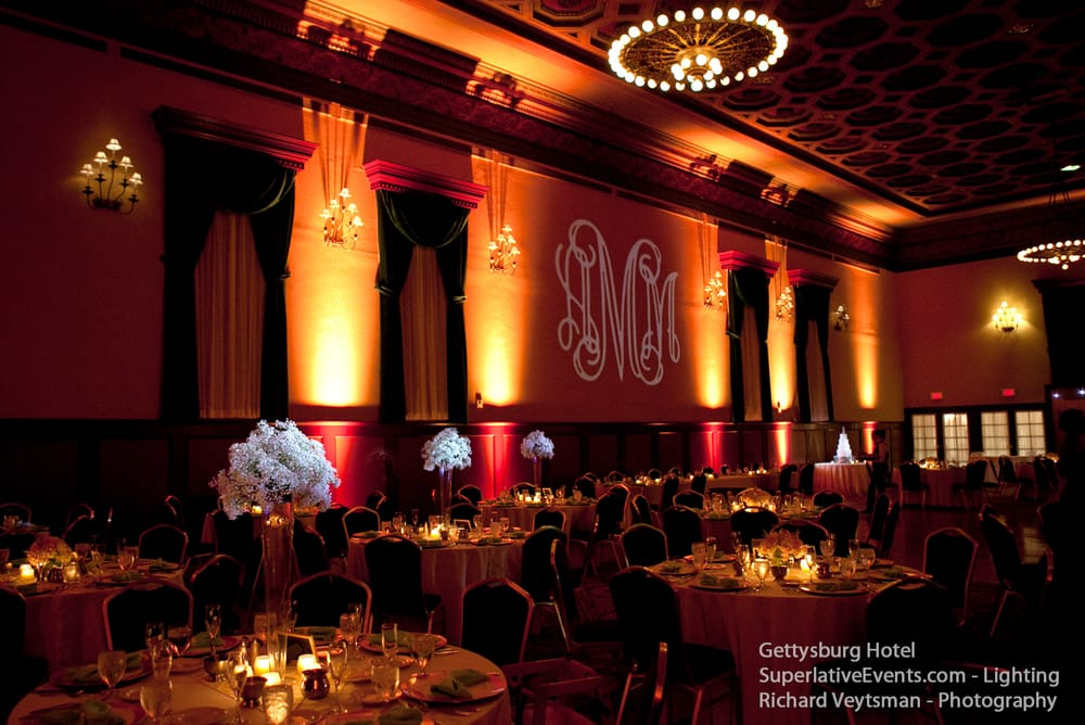 Photo of Superlative Events - Arlington VA United States. Gettysburg Hotel amber uplighting & Gettysburg Hotel amber uplighting and monogram lighting for a ...