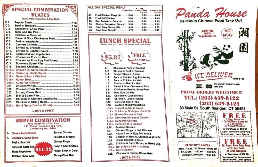 Panda House panda house menu side 1 - yelp