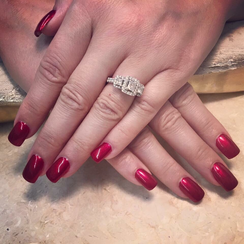 Uv powder Gel full set with OPI Affair in Red Square nail polish - Yelp