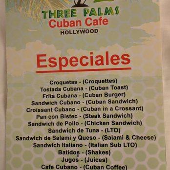Three Palms Cuban Cafe Menu