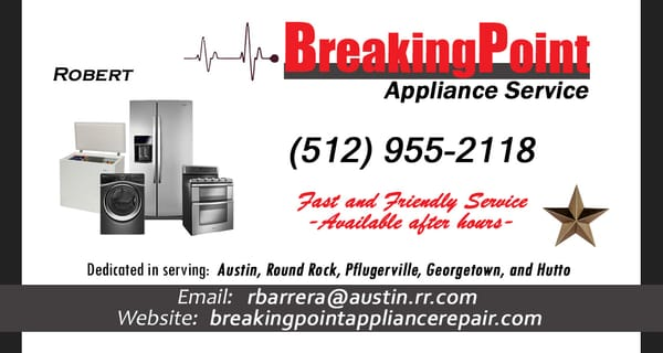 Breaking Point Appliance Repair 3327 Winding Way Round Rock