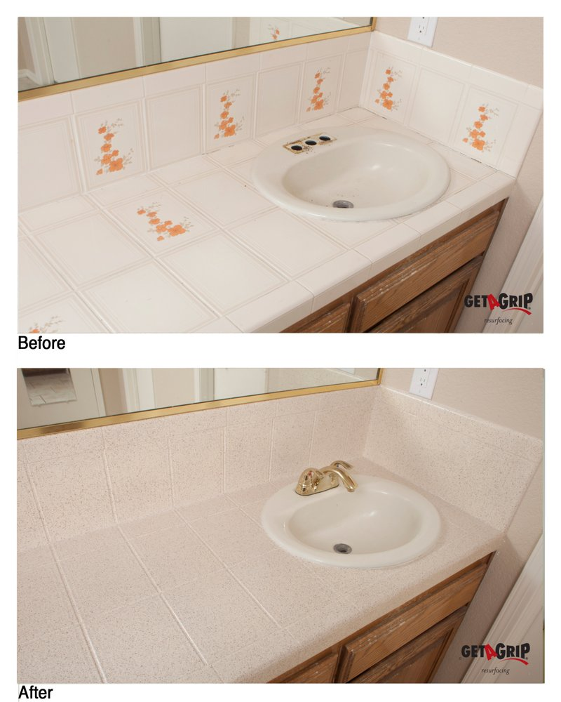 Residential Tile Bathroom Countertop Resurfacing - Yelp