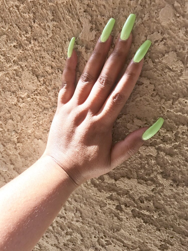 Neon Lime Green Coffin Shaped Nails - Yelp