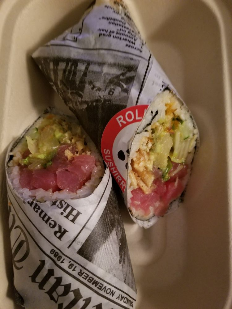 Photo of Rolling Fish Sushi Burrito and Poke - San Antonio, TX, United States. Eel sushi burrito (pre made option) delicious!!!
