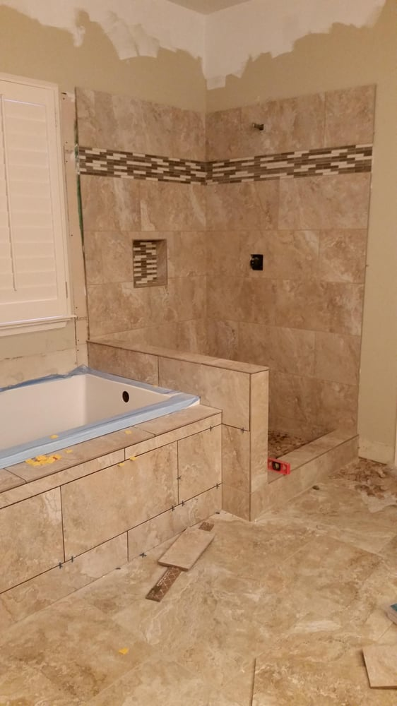 Another custom shower, tub, and floor with hand bullnose around all ...