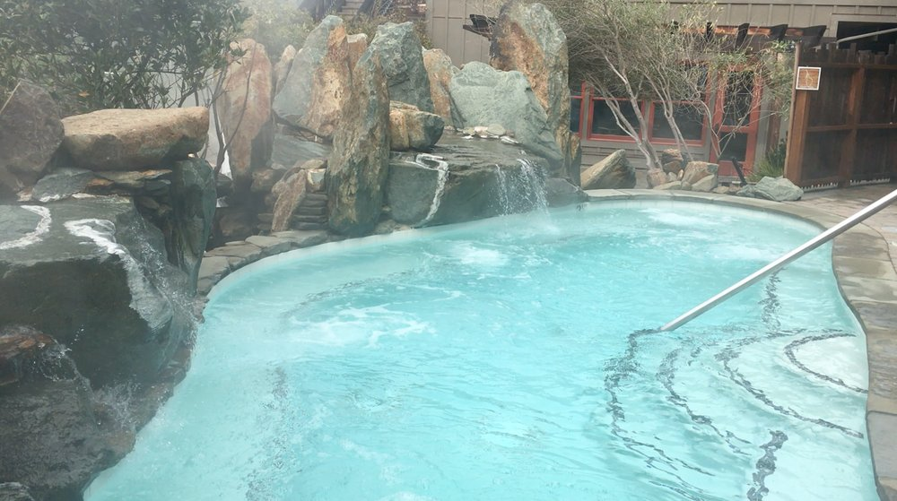 Uv cleansed hot pool with thermal waterfalls yelp for The refuge carmel