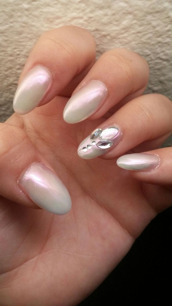 May filled pink to white ombre and refreshed it with chrome and ...