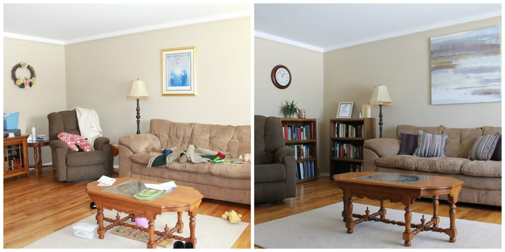Living room before after staging yelp for Staging before and after