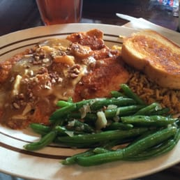 Pecan crusted Rainbow Trout with dirty rice and green ...