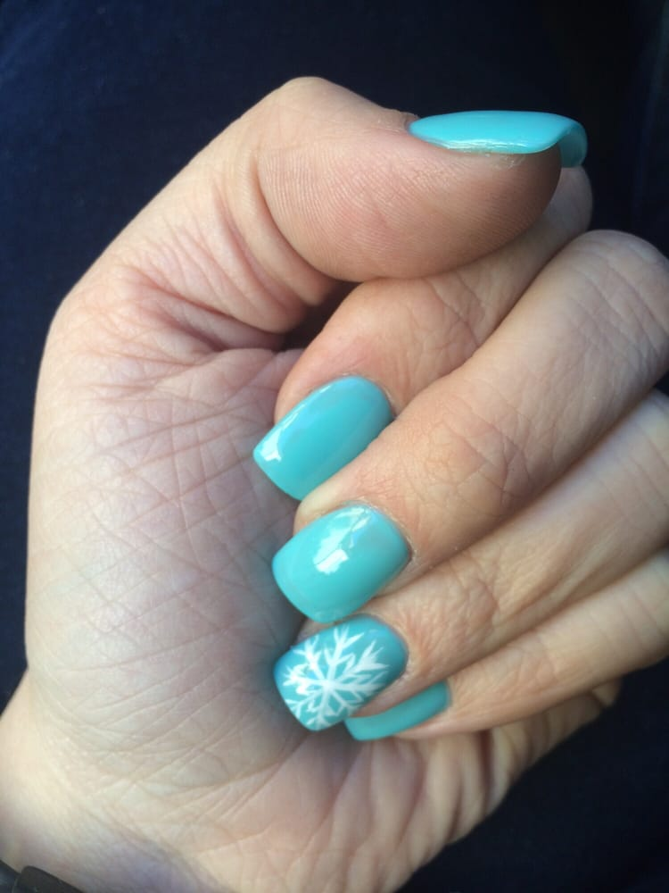 New full set acrylic nails, Tiffany Blue color with a white ...