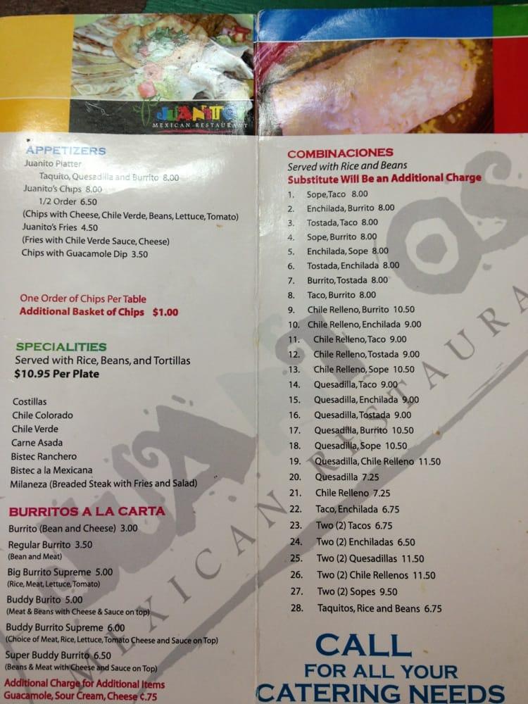 Juanitos Mexican Restaurant Menu
